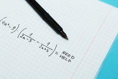 Problemet i matematik är att hjälpa mig royaltyfria bilder