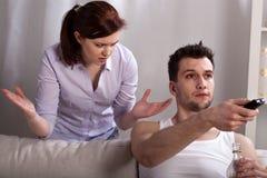Problemi alcolici nel matrimonio Immagine Stock Libera da Diritti