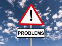 Problemi del segno di cautela Fotografie Stock Libere da Diritti