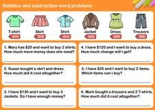 Problemi di parola di sottrazione e dell'aggiunta illustrazione di stock