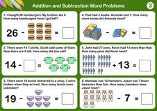 Problemi di parola di sottrazione e dell'aggiunta illustrazione vettoriale