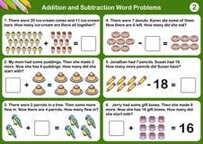 Problemi di parola di sottrazione e dell'aggiunta royalty illustrazione gratis