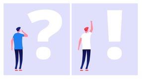 Probleml?sungskonzept Der gestörte Mannstudent, der mit Fragezeichendilemma denkt, verstehen Lösungsgeschäftliche Probleme vektor abbildung