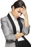 Problems. Young thinking business woman stressed, isolated on white background Stock Photo