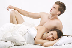 Problems in bed Royalty Free Stock Photo
