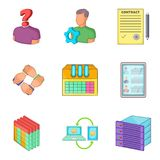 Problems with business icons set, cartoon style. Problems with business icons set. Cartoon set of 9 problems with business vector icons for web isolated on white Royalty Free Stock Photos