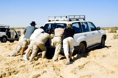 Problems with car while safari at the desert Stock Photography