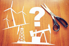 Problems of clean renewable energy and oil production. Abstract image with paper scrapbooking Stock Photo