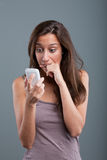 Problems coming by phone to one woman Royalty Free Stock Image