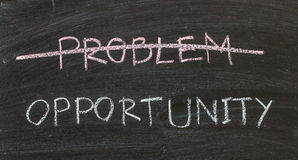 Problems crossed out and opportunity. On blackboard Royalty Free Stock Image