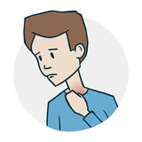 Problems with ears. Icon on medical subjects. Illustration of a funny cartoon style Stock Images