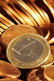 Problems of economic crisis and the need to save. Euro coins scene expressing the problems of economic crisis and the need to save Royalty Free Stock Photos