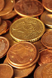 Problems of economic crisis and the need to save. Group of euro coins highlighting the texture and shine Stock Photos
