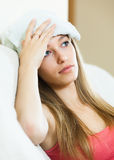 Problems girl  with intense headache Royalty Free Stock Photos