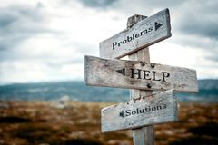 Problems, help, solutions signpost in nature. royalty free stock photos