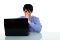 Problems with his laptop Stock Photos