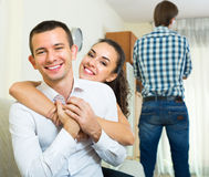 Problems of love triangle Stock Images