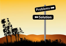Problems or solution road sign Stock Image