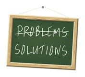Problems and solutions. A chalk board with the words problems and solutions Stock Images