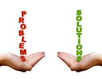 Problems and solutions. The words problems and solutions in woman's hands Stock Images