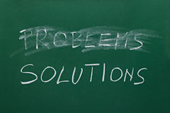 Problems and solutions. Words on chalk board Royalty Free Stock Photo