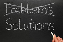 Problems and solutions. Crossing out problems and writing solutions on a blackboard Royalty Free Stock Images