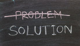 Problems Solutions handwritten with white chalk on a blackboard. Problems Solutions handwritten with white chalk on blackboard Stock Photo