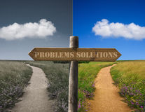 Problems and solutions. Poster of the problems and solutions with two roads in the landscape of alternative Royalty Free Stock Image