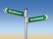 Problems solutions road sign Stock Photography