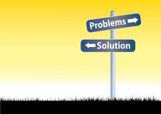 Problems and solutions road sign illustration Royalty Free Stock Photography
