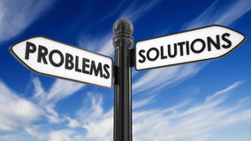 Problems solutions sign Stock Photography