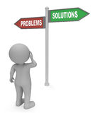 Problems Solutions Sign Means Difficult Situation And Complication 3d Rendering Stock Image