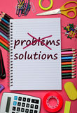Problems Solutions words on notebook Royalty Free Stock Images