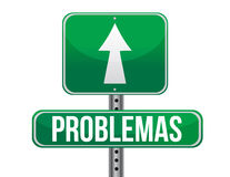 Problems in Spanish green traffic road sign Royalty Free Stock Image