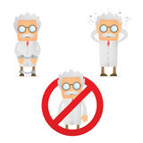 Problems and troubles. Set of funny cartoon scientist in various poses for use in presentations, etc Royalty Free Stock Images
