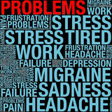 Problems in word collage. On black background Stock Image