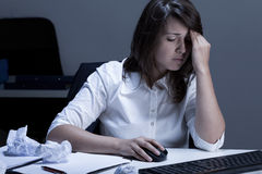 Problems at work during overtime Stock Images
