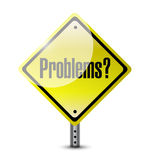 Problems yellow sign illustration design Royalty Free Stock Photos