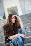 Problems - young woman outdoor portrait Royalty Free Stock Image