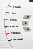 Problemvarningsrött ljus på säkerhetssystem Arkivbild