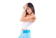 Problemy i depresja młoda dziewczyna na bielu Zdjęcia Royalty Free