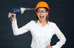 Problemy z budowniczych narzędziami i biznesową kobietą Zdjęcie Stock