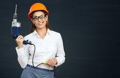 Problemy z budowniczych narzędziami i biznesową kobietą Obrazy Stock