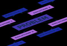 Problèmes et solutions Photo stock