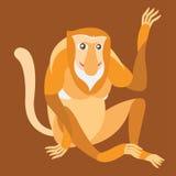 Proboscis Monkey. Vector illustration. Royalty Free Stock Photos