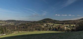 Probostov village in spring sunny day. In Ceske Stredohori mountains stock photos