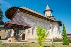 Probota修道院在Probota,苏恰瓦县,罗马尼亚 库存照片