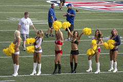 ProBowl Line-up. Event: 2014 ProBowl Wam-up 25.I.14 Location: Aloha Stadium, Honolulu, on the island of O'ahu, Hawai'i, USA Subject: NFL cheerleaders toe the stock images