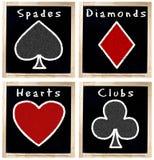 Procès de cartes de jeu sur le tableau Photos stock
