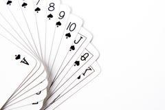 Procès de cosse des cartes de jeu Images stock